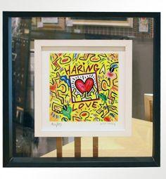 """Bruno Donzelli, """"Haring Love"""", serigrafia materica a smalti, cm 25X25, tiratura 99 es. fondo nero + 100 es. fondo bianco, anno 2010, € 150,00 cornice inclusa"""