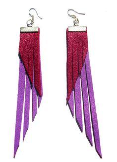 boucles d'oreilles cuir violet & rouge de sarayana sur DaWanda.com