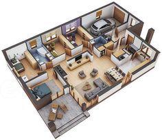 Zdjęcie projektu Murator M132 Wariantowy WAJ2306 Single Floor House Design, Best Modern House Design, Sims House Design, Bungalow House Design, Home Room Design, Small House Design, Home Design Plans, House Floor, House Plans Mansion