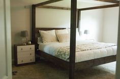 DIY Bed Frames - simple rustic modern wood canopy bed easy to make plans diy build pine boards tu. Wood Canopy Bed, Canopy Bed Frame, King Bed Frame, Canopy Beds, Pine Bedroom Furniture, Diy Furniture Plans, Woodworking Furniture, White Furniture, Furniture Sets
