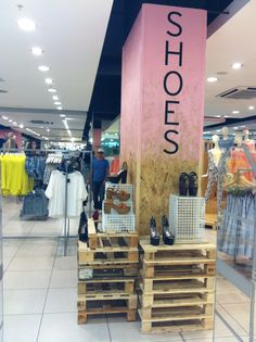 AW13 MODELS STORE front shoe column creative treatment, inspiration taken from AW13 'timber' window