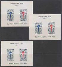 Perú 1961 Olimpiadas Sc c173a Yvert Bf4 tres hojas de recuerdo Mnh Vf € 24,00