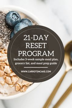 Need a pick me up? Hitting the reset button with three weeks of real food! Because eating healthy can feel difficult, we're making it super simple and fun. The 21-Day Reset Program will give you everything you need to eat clean and look and feel your best. Nutrition Program, Nutrition Plans, Eating Healthy, Clean Eating, Carrots N Cake, Macro Nutrition, Meal Prep Guide, Reset Button, Grocery Lists