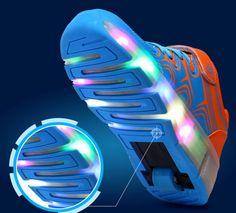 Blau Schuhe Mit Rollen LED Damen