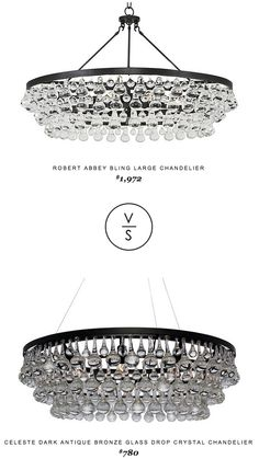 Robert Abbey Bling Large Chandelier $1,972 vs Celeste Dark Antique Bronze Glass Drop Crystal Chandelier $780
