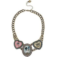 Betsey Johnson Jewelry CAMEO CRITTERS FRONTAL NECKLACE (97 SGD) ❤ liked on Polyvore featuring jewelry, necklaces, betsey johnson jewelry, betsey johnson necklace, betsey johnson, betsey johnson jewellery and cameo jewelry