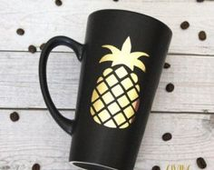 Pineapple // Matte Black Coffee Mug