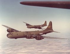 Olive-drab painted Boeing B-29 Superfortress bombers, late 1943.