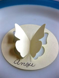 24 Very Vanilla Butterfly Place Card Cut Out Wedding Party 3 InchSet of 24 cut out butterfly place cards/escort cards measuring 3 are ready for you to personalize for your wedding or event. These will come blank and are available in tons of colors! Butterfly Place, Butterfly Wedding, Butterfly Crafts, Wedding Flowers, Diy And Crafts, Crafts For Kids, Wedding Place Cards, Pop Up Cards, Diy Birthday