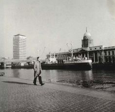 Georges Quay, Customs House and Liberty Hall in the background, Dublin Dublin Street, Dublin City, Customs House, Images Of Ireland, Ireland Homes, Dublin Ireland, Back In The Day, Great Britain, Old Photos