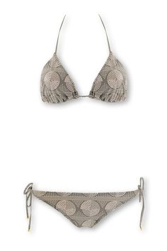 Ensemble bikini 2 pièces - haut à triangles coulissants, lacets embouts métal doré à nouer à la nuque & dans le dos - slip de bain bikini taille basse, fermeture par lacets avec embouts métal doré sur les côtés, entièrement doublé, Imprimés ronds