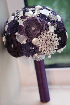 All purple Vintage Brides brooch posie bouquet £95.00 www.cardsbybeachcombers.co.uk