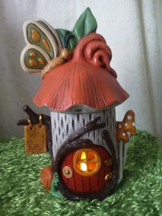 Fairy House -Butterfly Fairy House - Tealight Holder - Lighted Fairy House - Gift for little girl - Fairy Dwelling - Mothers Day Gift Clay Projects, Clay Crafts, Clay Fairy House, Clay Jar, Polymer Clay Fairy, Clay Fairies, Butterfly Fairy, Little Girl Gifts, House Gifts