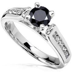 Amazon.com: 1 Carat TW Black and White Round Diamond Engagement Ring in 14k White Gold - Size 6.5: Diamond-Me: Jewelry