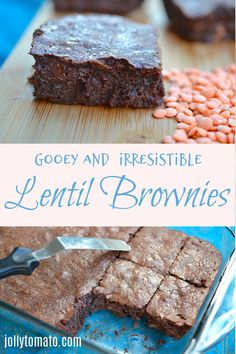 These rich and gooey lentil brownies are made with pureed red lentils - but no one would ever guess. The lentils can be your secret. Healthy Bars, Healthy Dessert Recipes, Delicious Desserts, Yummy Food, Healthy Snacks, Hidden Vegetables, Thyme Recipes, Unique Recipes