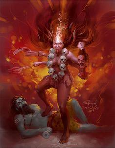 Kali by scorpy-roy on DeviantArt Kali Shiva, Kali Hindu, Kali Mata, Shiva Art, Shiva Shakti, Kali Goddess, Goddess Art, Maa Kali Images, Mother Kali