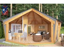 The Camping Lodge by Forest Log Cabins and LV Garden Studio, Kit Homes, Gazebo, Shed, Outdoor Structures, Log Cabins, House Styles, Building, Camping