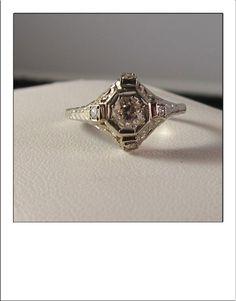 Antique Art Deco 18k Old Mine cut Diamond by BellaJewelryShop, $639.00