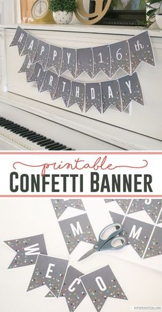 Free printable confetti banner. Love this free printable banner! This free banner is so cute! Great birthday banner party decor!