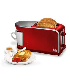 Red 2-in-1 Dual Function Toaster and Coffeemaker