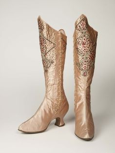 Pink silk satin stage boots worn by the music hall variety artiste Kitty Lord: c. 1895-1914, Rayne