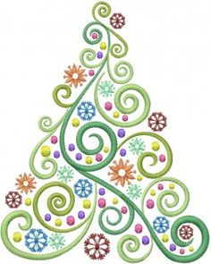 Machine Embroidery Designs Embroidery Design: Kerstboom Swirl 7,29 inch H x 5,80 inches W