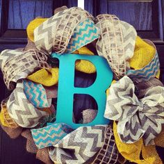 Burlap wreath with Turquoise//Yellow// Grey Chevron with center letter -  Chevrons Galore burlap wreaths, chevron galor, color, burlap wreath with letter, front doors, hous, chevron wreath, door wreaths with letters, grey chevron