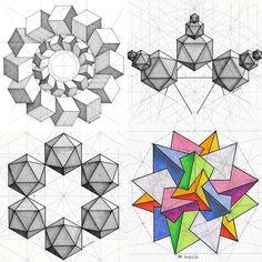 #solid #polyhedra #geometry #symmetry #mathart #regolo54 #escher #ink #pencil #hexagon #triangle #isometric