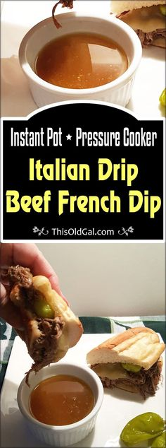 Pressure Cooker Italian Drip Beef French Dip is wonderful for large parties, as the meat can be made in advance. via @thisoldgalcooks