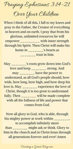 Praying Ephesians over your children #parenting #prayer