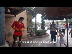 "In a new viral video, a little girl tells off Disney performer who plays Gaston from ""Beauty and the Beast."""