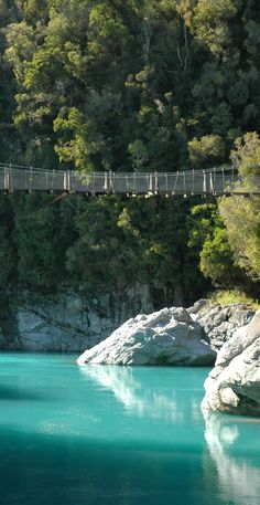 Check out the incredibly blue waters of the Hokitika River in the Hokitika Gorge, about two hours north from Franz Josef -  West Coast of New Zealand