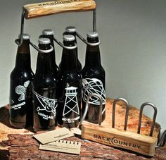 Backcountry Brew Company - love the designs on the bottles and the creative carrier!
