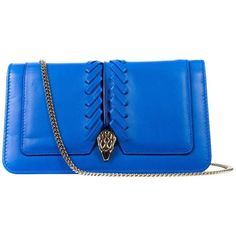 Preowned Roberto Cavalli Womens Blue Serpent Wallet Clutch Mini... (6 920 UAH) ❤ liked on Polyvore featuring bags, handbags, shoulder bags, blue, blue leather shoulder bag, genuine leather purse, blue leather purse, leather clutch wallet and mini shoulder bag