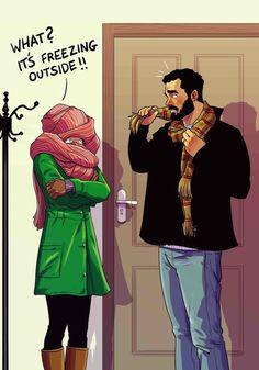 Husband-Wife Everyday Life Funny Illustrations - 17