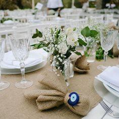 "La Fete on Instagram: ""Earthy, organic elegance... #lafetegr #weddingtables #tablescape #weddingfavor #customised #privateisland #greekisland #evileye #burlap…"""