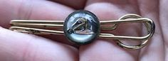 Vintage Reverse Paint Etched Glass Crystal Equestrian Horse Tie Clip Estate Find   eBay