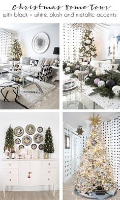 Better Homes and Gardens Christmas Ideas Home Tour in black and white with blush and metallic accents via @jakonya