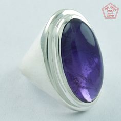 EXCLUSIVE AMETHYST STONE 925 STERLING SILVER RING,R5038, Sz.8.5 US #SilvexImagesIndiaPvtLtd #Statement #AllOccasions