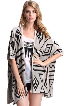 Apricot Batwing Sleeve Geometric Print Cardigan. http://www.cozbest.com/product/apricot-batwing-sleeve-geometric-print-cardigan-p-40854.html?SSAID=714532  $23.20