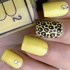Yellow nails. Leopard nail art. Nail design. Polish. Polishes.