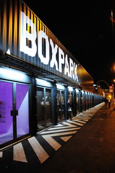 All Containers Boxpark Pop-Up Mall Shipping Container Restaurant, Shipping Container Design, Container Buildings, Container Architecture, Module Design, Container Van, Restaurant Plan, Casas Containers, Garage Design