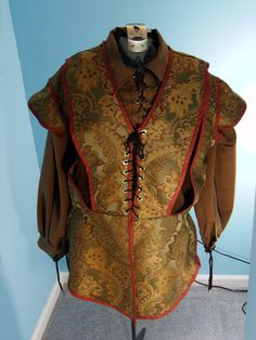 Medieval Doublet in a Rust brocade Size 2XL by PavaneCostuming, $75.00