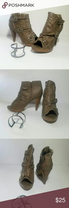 """Cute Peep Toe Bootie Cute Peep Toe Bootie with buckle accent Man made material  Taupe Color  Approximately 4"""" heel with 1/2 platform Charlotte Russe Shoes"""