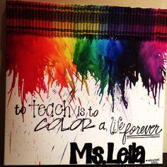 Teacher Appreciation Gift -- melted crayon art | Teachers gift ideas