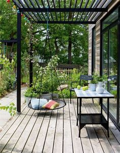 Terrasse mit Nestschaukel Terrace with nest swing Related posts: Legend Exterior Cedar Swing Bed&Pergola gabions as decoration in the garden bench dining table terrace furniture wood slats Pergola Canopy, Wooden Pergola, Outdoor Pergola, Backyard Pergola, Backyard Landscaping, Outdoor Spaces, Outdoor Living, Pergola Lighting, Cheap Pergola