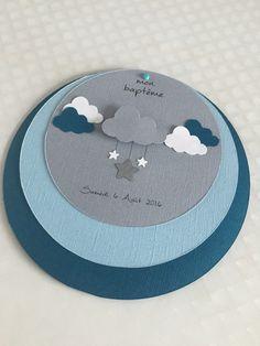 Faire part rond baptême ou naissance thème étoile & nuage garçon : Faire-part par so-and-n