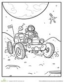 Blast off to the moon with an out-of-this-world coloring page featuring an astronaut piloting a lunar rover.