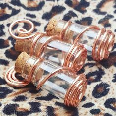 Items similar to Empty/Filler Bottles on Etsy - Tarnish Resistant Copper Wire-Wrapped Bottles - Bottle Jewelry, Bottle Charms, Bottle Necklace, Wire Jewelry Designs, Handmade Wire Jewelry, Metal Jewelry, Bijoux Wire Wrap, Wire Wrapped Jewelry, Bijoux Wiccan