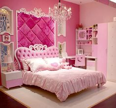 Bedroom : Simple Decorating Ideas For Princess Pink Bedroom Princess Pink Bedroom With Nice Ideas On A Budget Princess Bedroom Decorating Ideas' Princess Bedroom Furniture' Princess Bedroom Ideas On A Budget as well as Bedrooms Girl Bedroom Designs, Girls Bedroom, Master Bedroom, Hot Pink Bedrooms, Childrens Bedroom, Master Suite, Kids Bedroom Furniture, Bedroom Decor, Bedroom Ideas